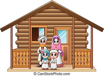 Muslim families cartoon in the wooden house