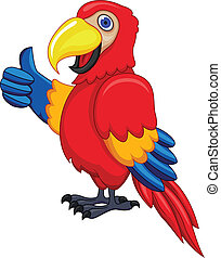Vector Illustration Of Parrot Cartoon