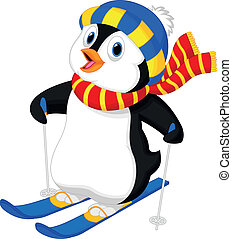 Vector illustration of Penguin cartoon skiing