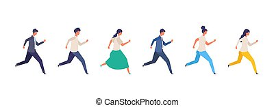 Vector illustration of People are running.