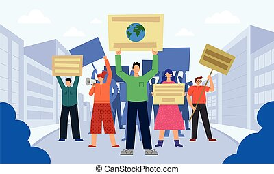Vector illustration of people who are protesting