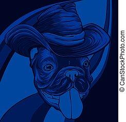 Vector illustration of pug head. Portrait of a dog.