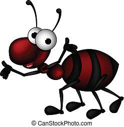 vector illustration of red ant cartoon