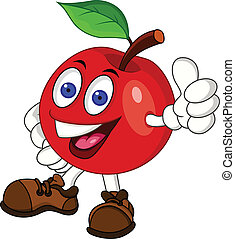Vector Illustration Of Red apple cartoon character