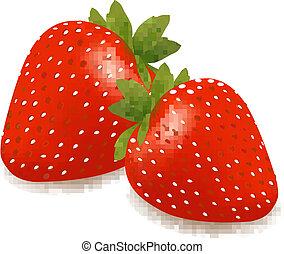 Vector illustration of ripe red strawberries.