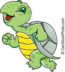 Vector Illustration Of Running Turtle