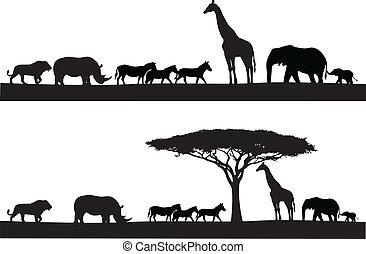 Vector Illustration Of Safari animal silhouette
