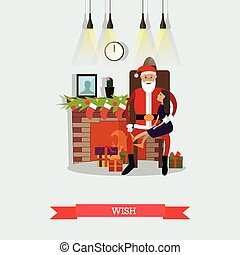 Vector illustration of Santa Claus and little girl making wish