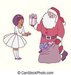 Vector illustration of Santa Claus giving gift box to little girl in festive dress.