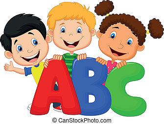 Vector illustration of School kids cartoon with ABC