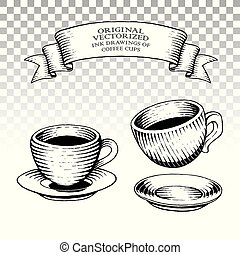 Scratchboard Style Ink Drawings of Coffee Cups