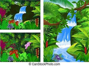 Set Icon waterfall frame scenery