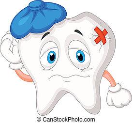 Vector illustration of Sick tooth cartoon