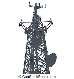 Vector illustration of single isolated antenna grunge background