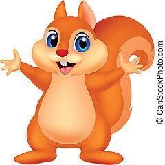 Vector illustration of Squirrel cartoon waving hand