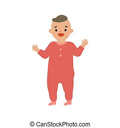 Vector illustration of standing cute baby.