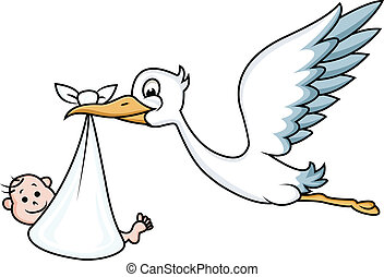 Vector Illustration Of Stork with baby