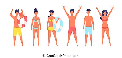 Vector illustration of Summer people are standing.