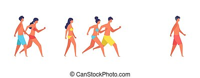 Vector illustration of summer people are walking.