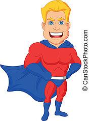 Vector illustration of Superhero cartoon posing