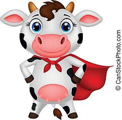 vector illustration of Superhero cow cartoon posing