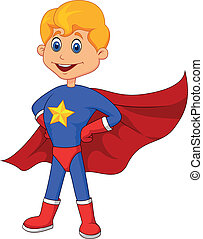 Vector illustration of Superhero kid cartoon