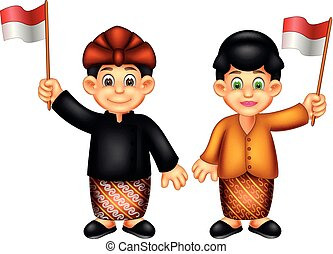 sweet girl and boy cartoon standing using indonesian costume with smile and waving bring flag