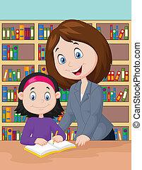 Vector illustration of Teacher cartoon helping pupil studying
