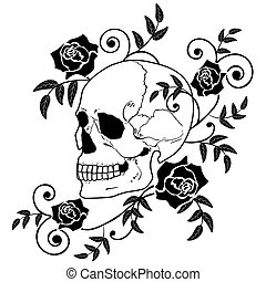 vector illustration of the skull and roses in black and white colors