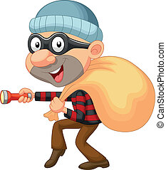 Vector illustration of Thief cartoon with sack of money