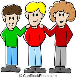 vector illustration of three cartoon friends