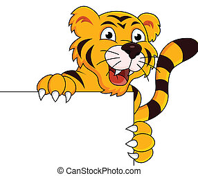 vector illustration of Tiger cartoon with blank sign