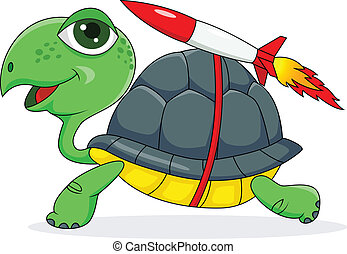 Vector illustration of Turtle with a rocket