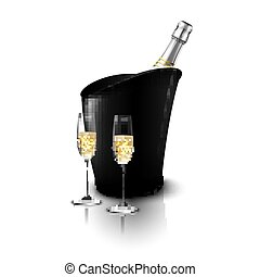 Two wineglass with wine bottles of champagne in a bucket