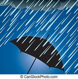 vector illustration of umbrella protection from heavy rain