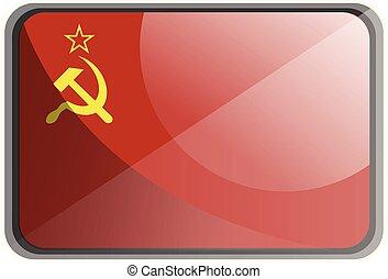 Vector illustration of USSR flag on white background.