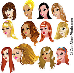 Vector Illustration of White Women Faces. Great for avatars, makeup, skin tones or hair styles of Caucasian women.