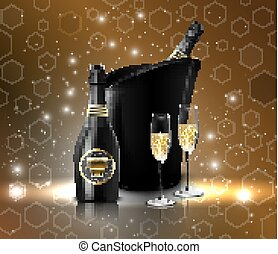 Wineglass with black wine bottles of champagne in a bucket