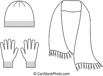 Vector illustration of winter accessories. Cap, scarf, gloves. Knitwear