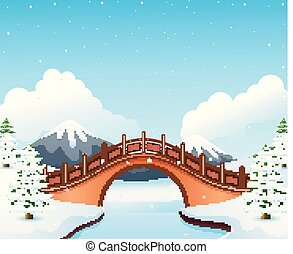 Winter landscape with mountain and small stone bridge over river