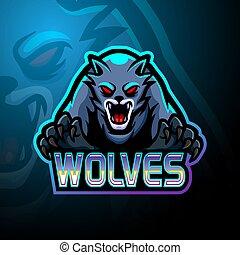 Wolves esport logo mascot design