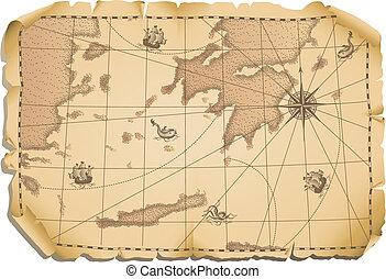 Vector illustration - old map background