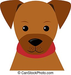 Vector Illustration Portrait of little Puppy in flat style.