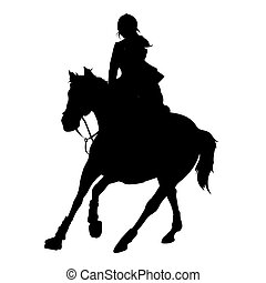 vector illustration, rider controls running horse, competition dressage
