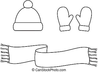 Vector illustration. Set of winter accessories. Cap, scarf, mittens