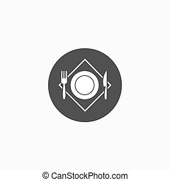 Vector illustration sign with fork and knife