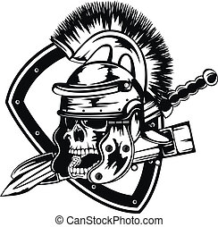 Vector illustration skull in legionary helmet and sword