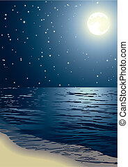 Vector illustration - the seacoast shined by the full moon