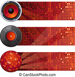 Vector illustration - three red music banners