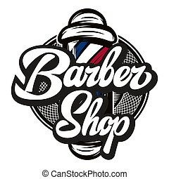 Vector illustration with barber pole and calligraphic inscription.